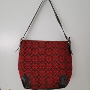 Coach Red and Black Hobo Bag